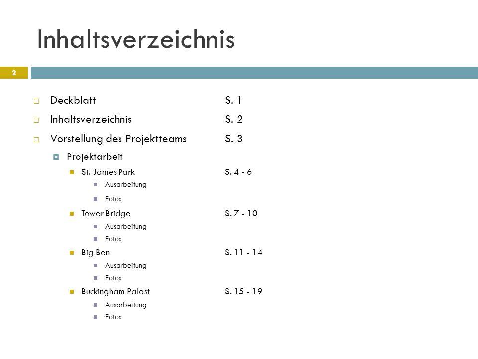 Inhaltsverzeichnis Deckblatt S. 1 Inhaltsverzeichnis S. 2