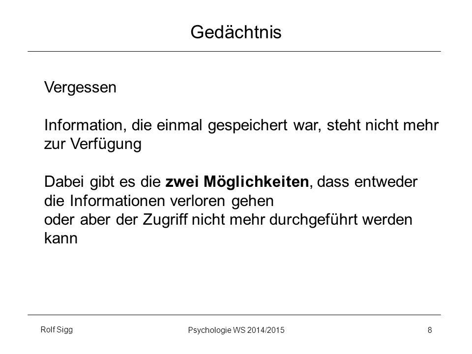 Gedächtnis Vergessen. Information, die einmal gespeichert war, steht nicht mehr. zur Verfügung.