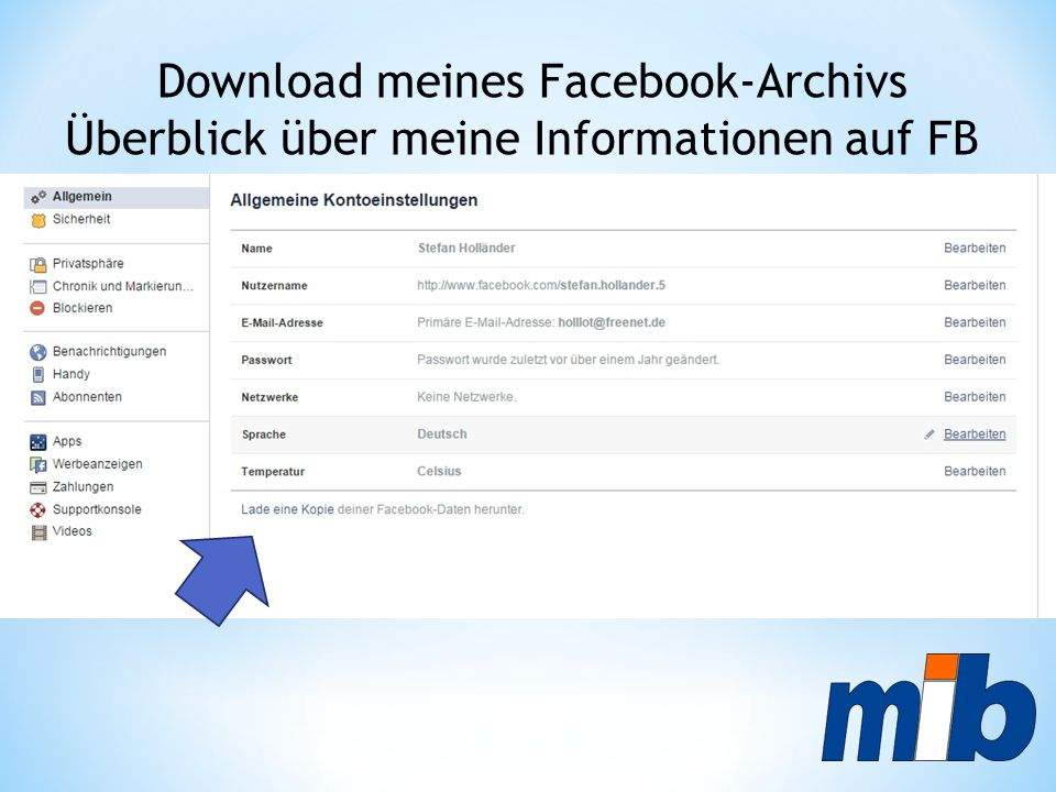Download meines Facebook-Archivs