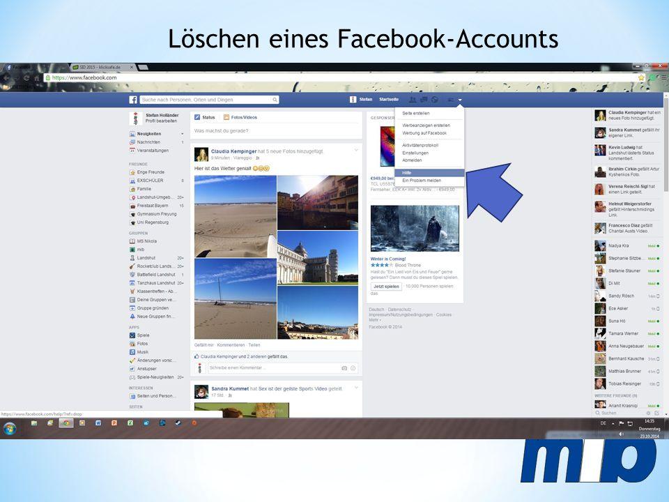 Löschen eines Facebook-Accounts