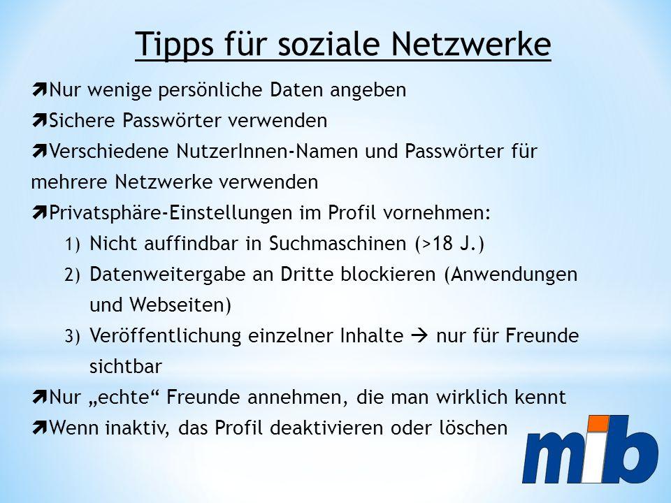 Tipps für soziale Netzwerke