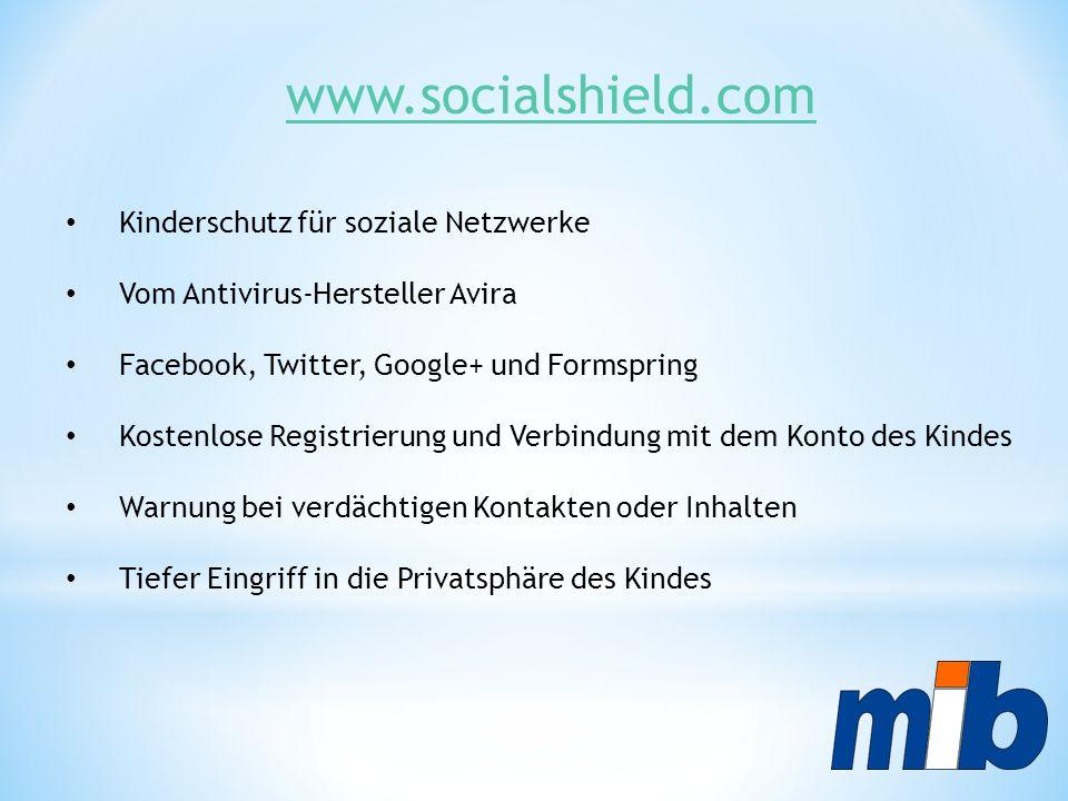 www.socialshield.com Kinderschutz für soziale Netzwerke