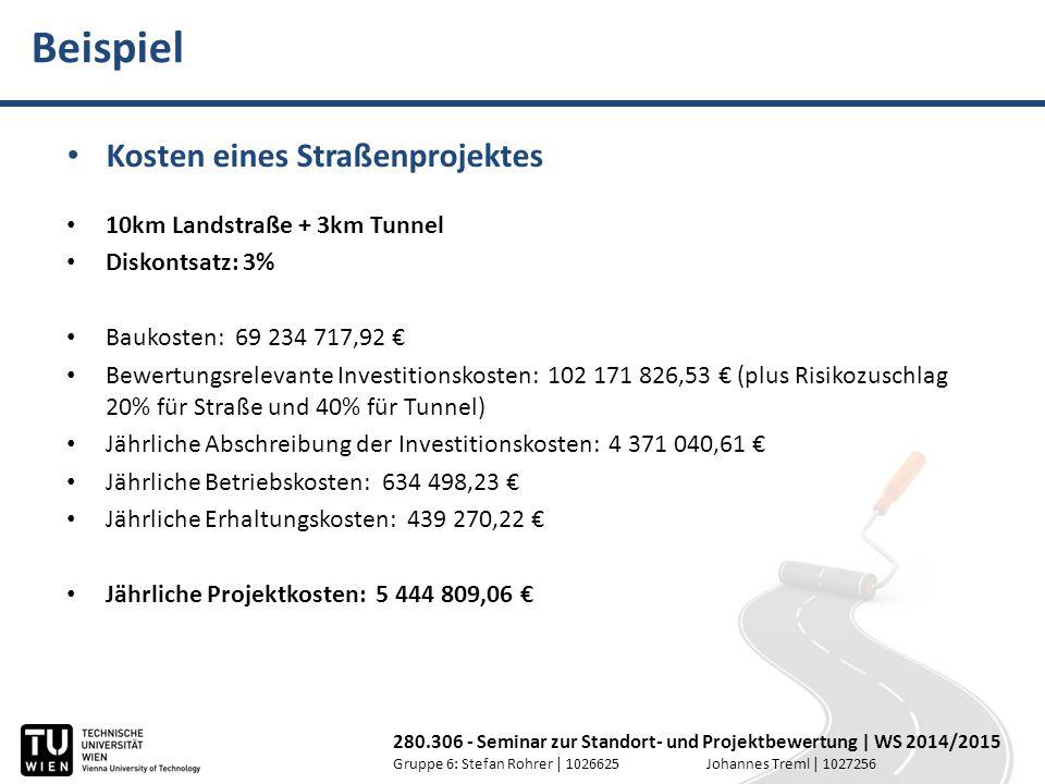 Beispiel Kosten eines Straßenprojektes 10km Landstraße + 3km Tunnel