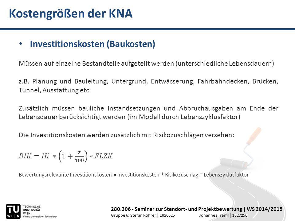 Kostengrößen der KNA Investitionskosten (Baukosten)
