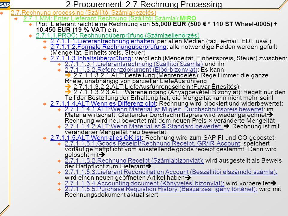2.Procurement: 2.7.Rechnung Processing