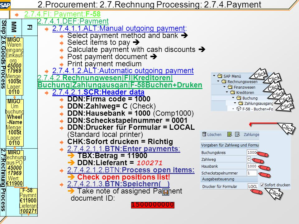 2.Procurement: 2.7.Rechnung Processing: 2.7.4.Payment