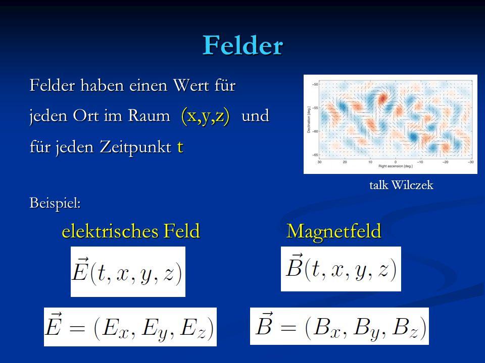 Felder elektrisches Feld Magnetfeld Felder haben einen Wert für