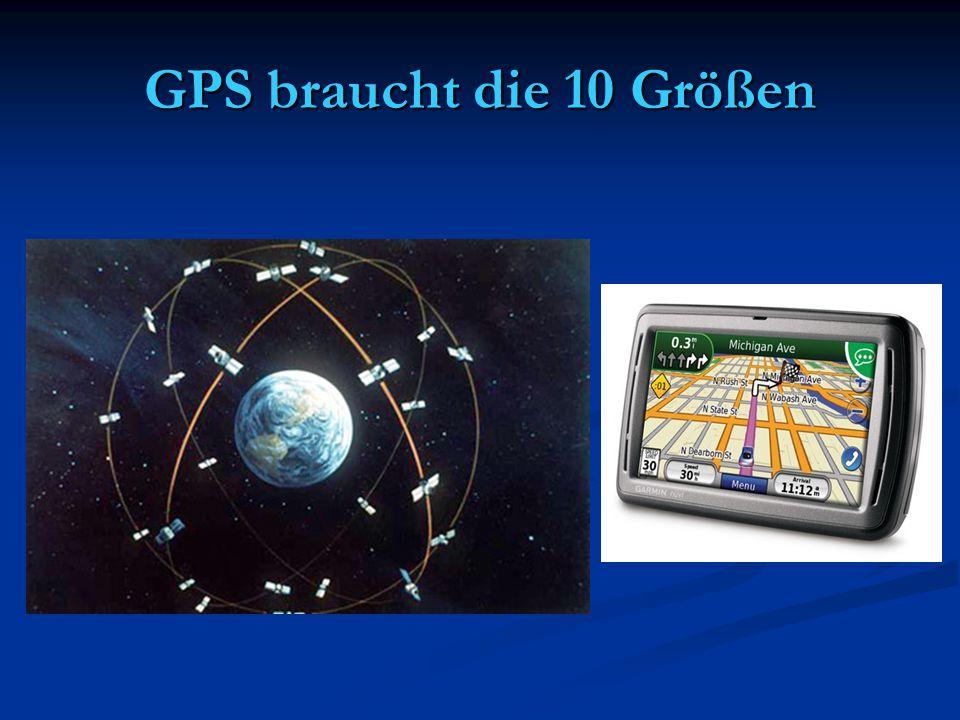 GPS braucht die 10 Größen