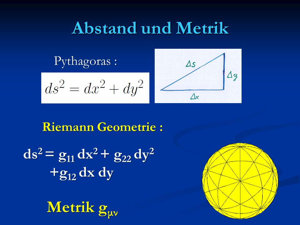 Abstand und Metrik Metrik gμν ds2 = g11 dx2 + g22 dy2 +g12 dx dy