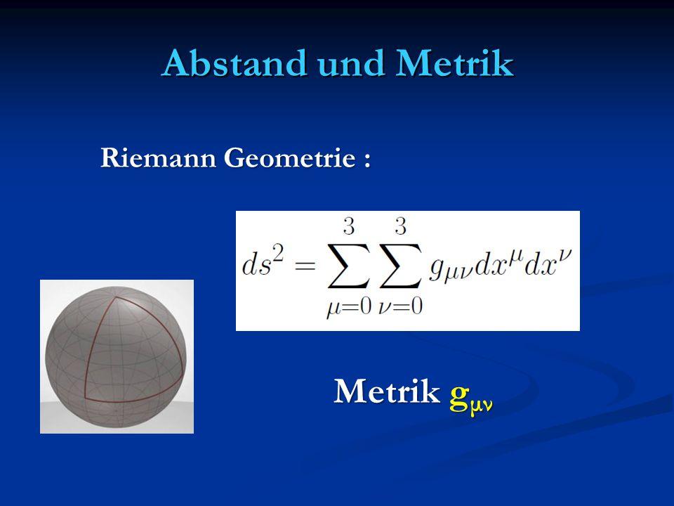 Abstand und Metrik Riemann Geometrie : Metrik gμν