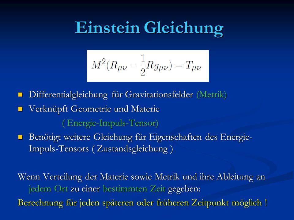 Einstein Gleichung Differentialgleichung für Gravitationsfelder (Metrik) Verknüpft Geometrie und Materie.