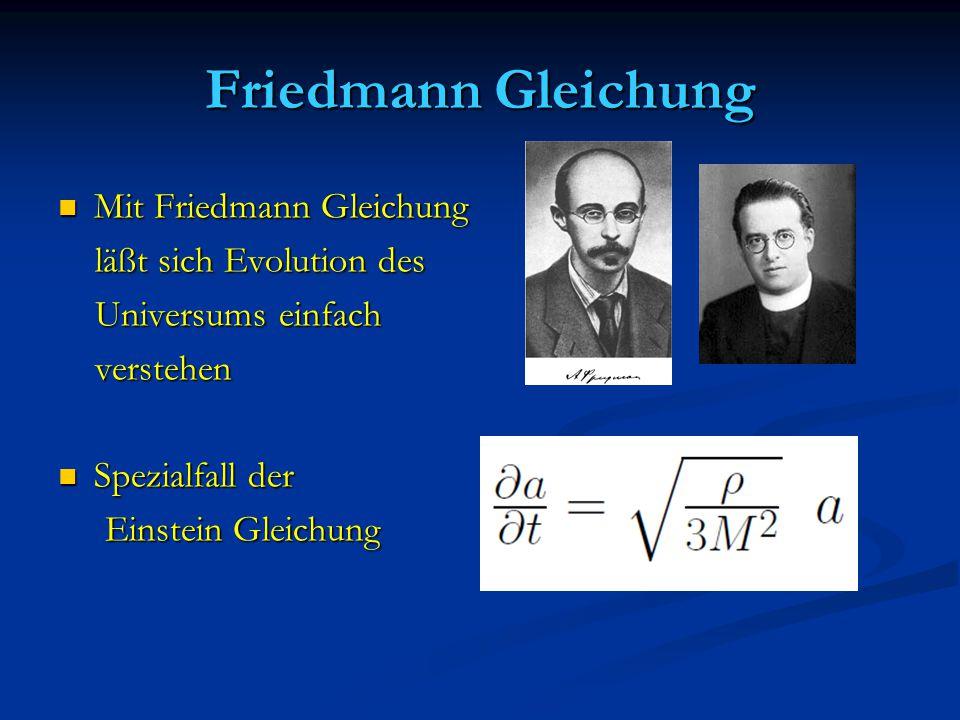 Friedmann Gleichung Mit Friedmann Gleichung läßt sich Evolution des