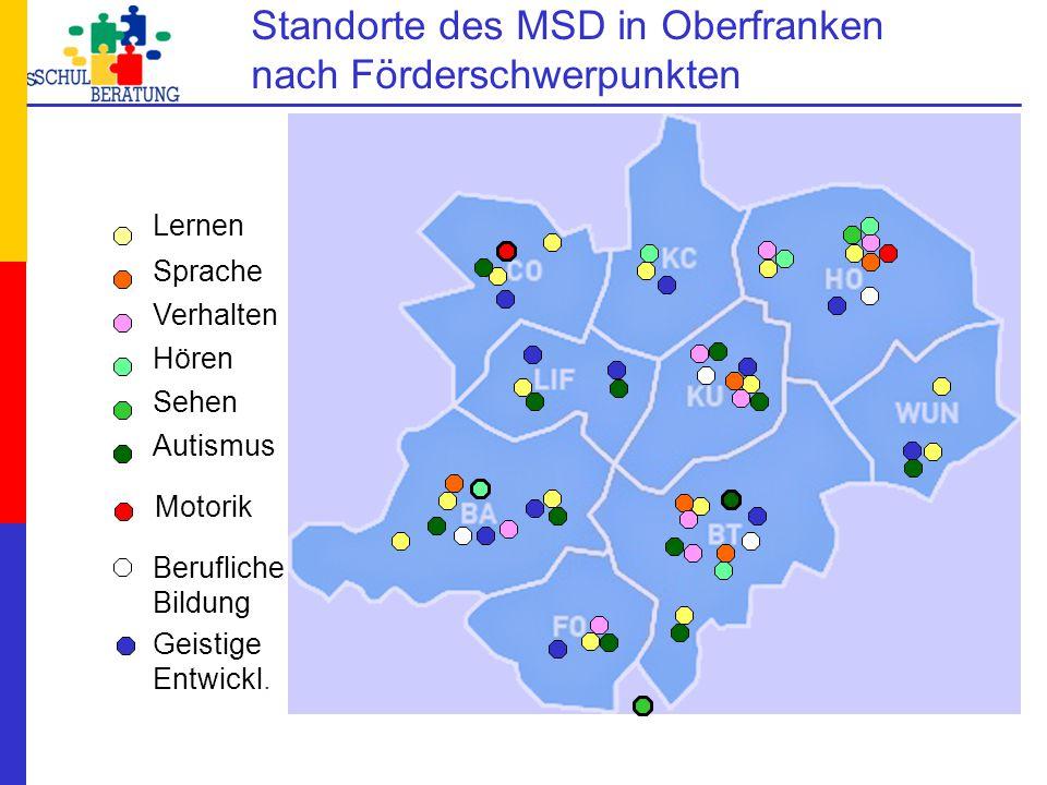 Standorte des MSD in Oberfranken nach Förderschwerpunkten