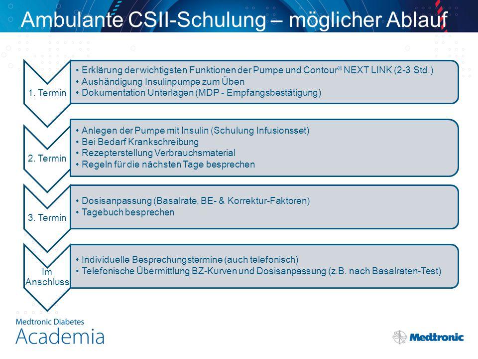 Ambulante CSII-Schulung – möglicher Ablauf