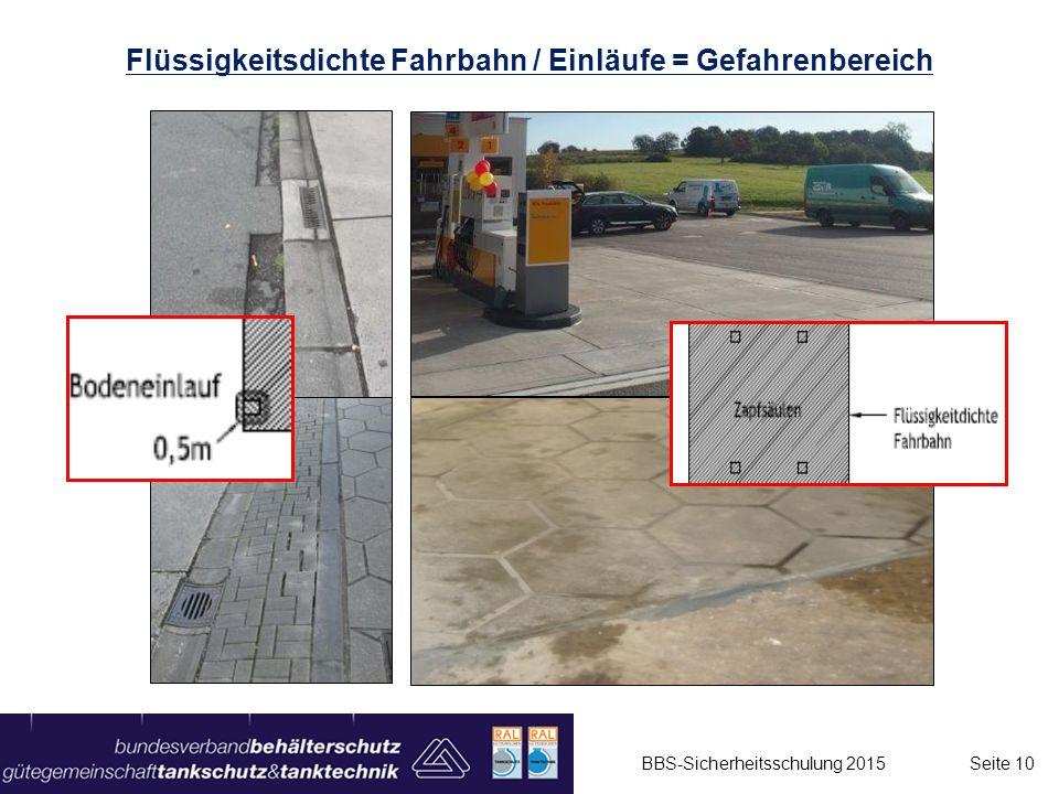 Flüssigkeitsdichte Fahrbahn / Einläufe = Gefahrenbereich
