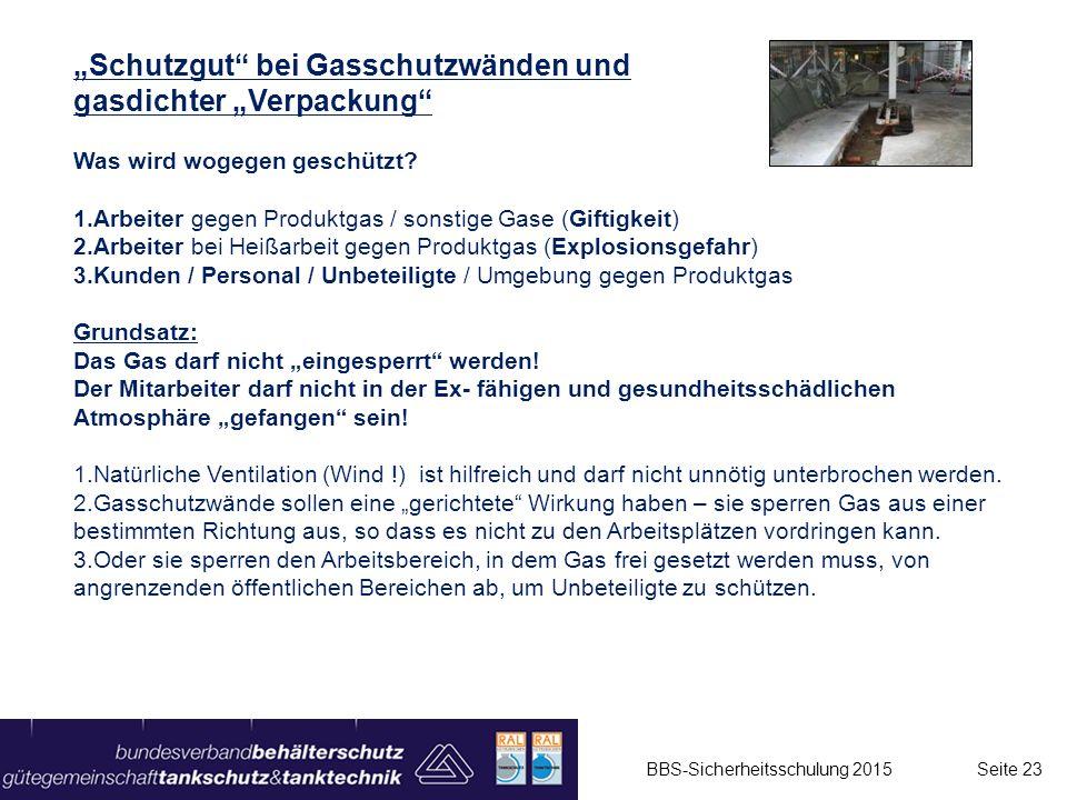 """""""Schutzgut bei Gasschutzwänden und gasdichter """"Verpackung"""
