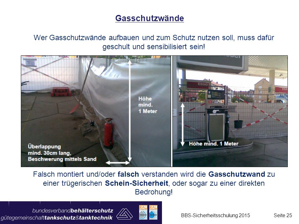Gasschutzwände Wer Gasschutzwände aufbauen und zum Schutz nutzen soll, muss dafür geschult und sensibilisiert sein!