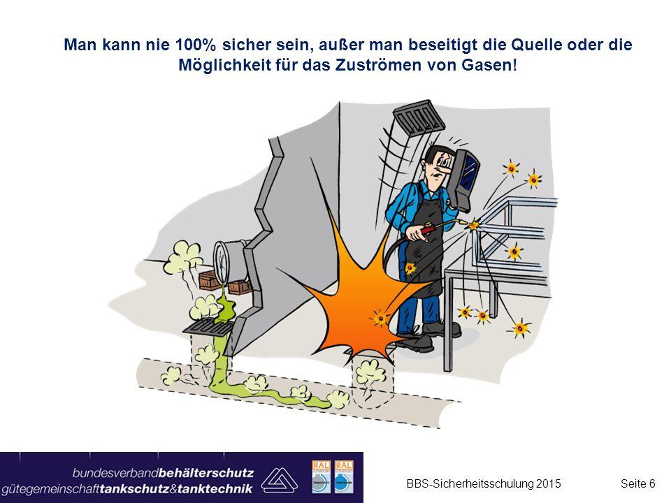Man kann nie 100% sicher sein, außer man beseitigt die Quelle oder die Möglichkeit für das Zuströmen von Gasen!