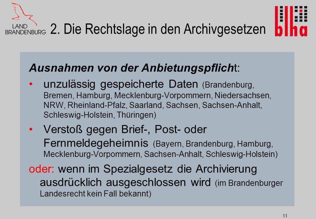 2. Die Rechtslage in den Archivgesetzen