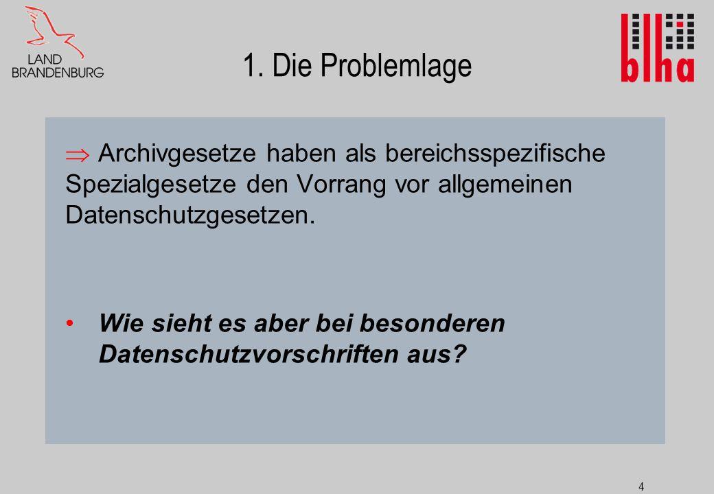 1. Die Problemlage Archivgesetze haben als bereichsspezifische Spezialgesetze den Vorrang vor allgemeinen Datenschutzgesetzen.