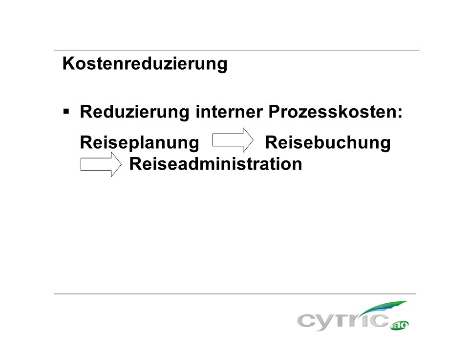 Kostenreduzierung Reduzierung interner Prozesskosten: Reiseplanung Reisebuchung Reiseadministration.