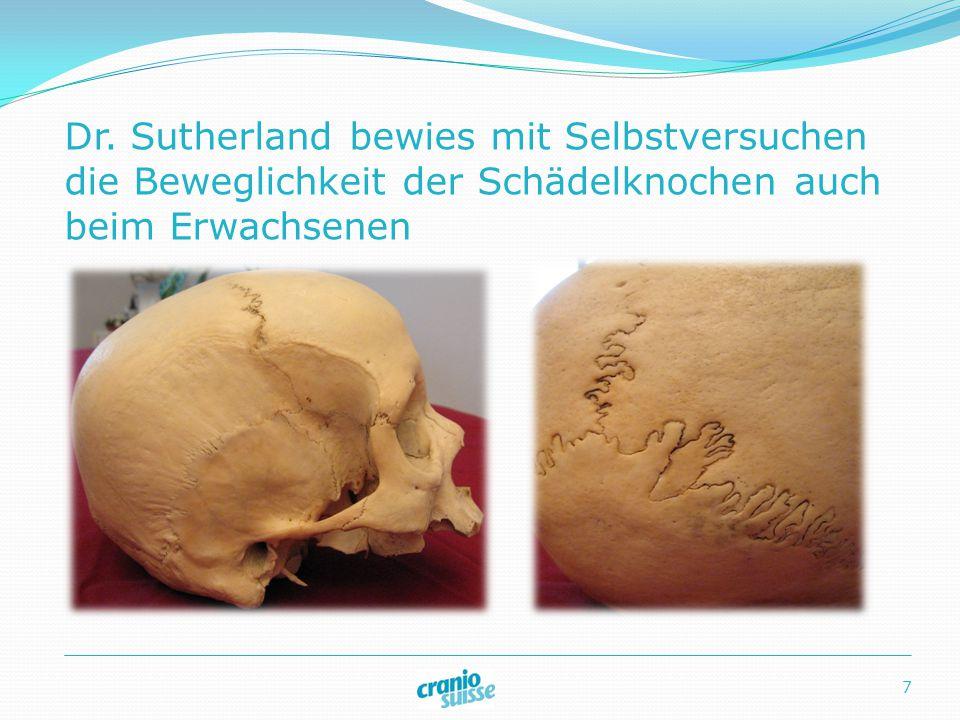 Dr. Sutherland bewies mit Selbstversuchen die Beweglichkeit der Schädelknochen auch beim Erwachsenen