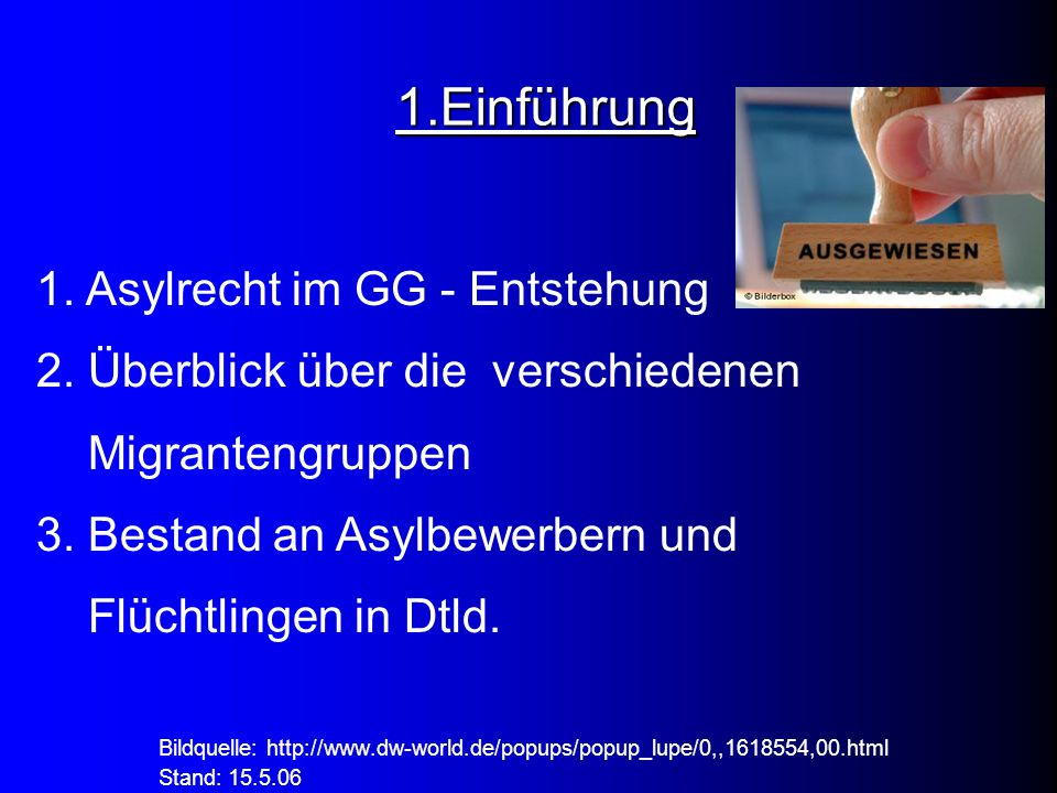 1.Einführung 1. Asylrecht im GG - Entstehung