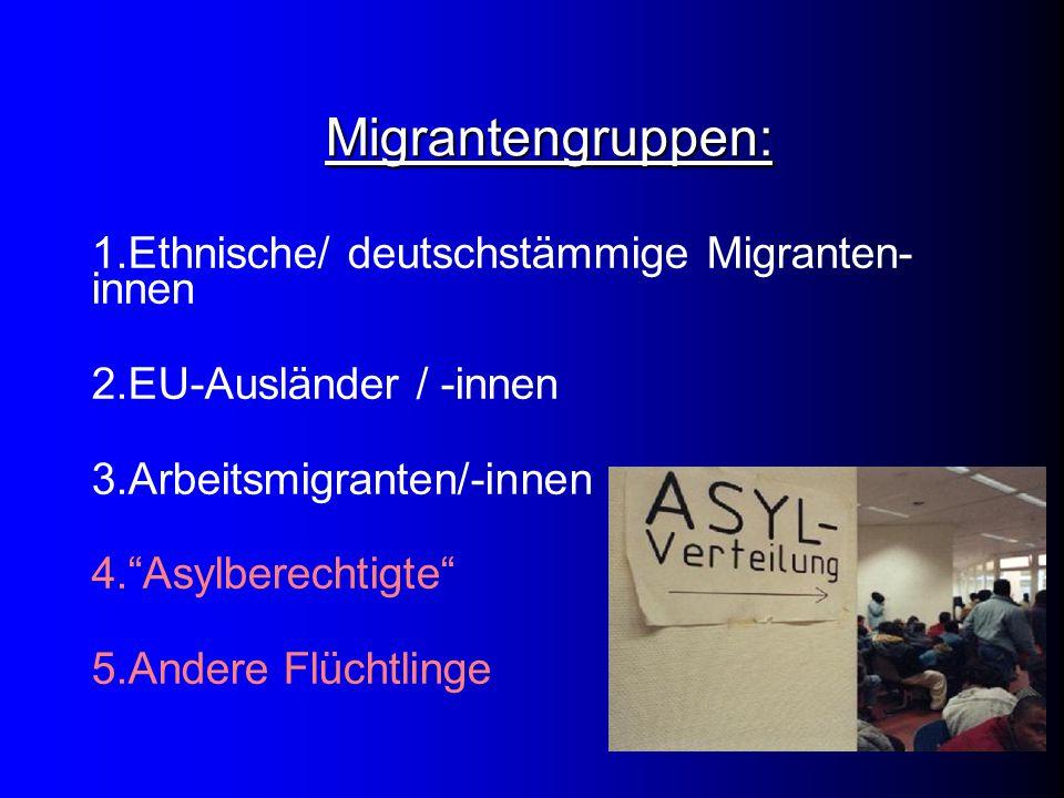 Migrantengruppen: 1.Ethnische/ deutschstämmige Migranten- innen