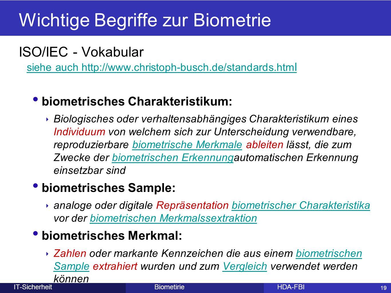 Wichtige Begriffe zur Biometrie