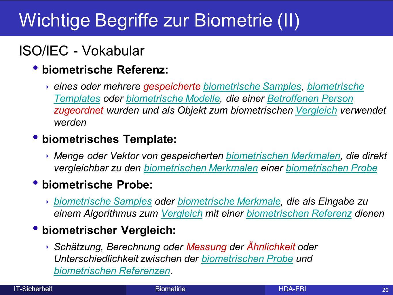 Wichtige Begriffe zur Biometrie (II)