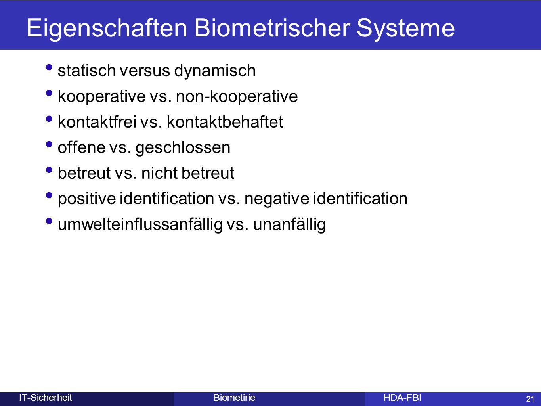 Eigenschaften Biometrischer Systeme