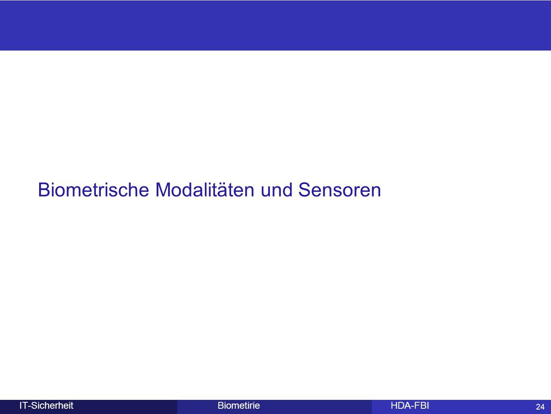 Biometrische Modalitäten und Sensoren