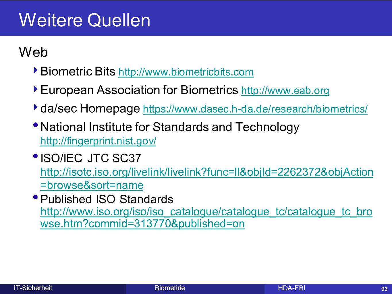 Weitere Quellen Web Biometric Bits http://www.biometricbits.com