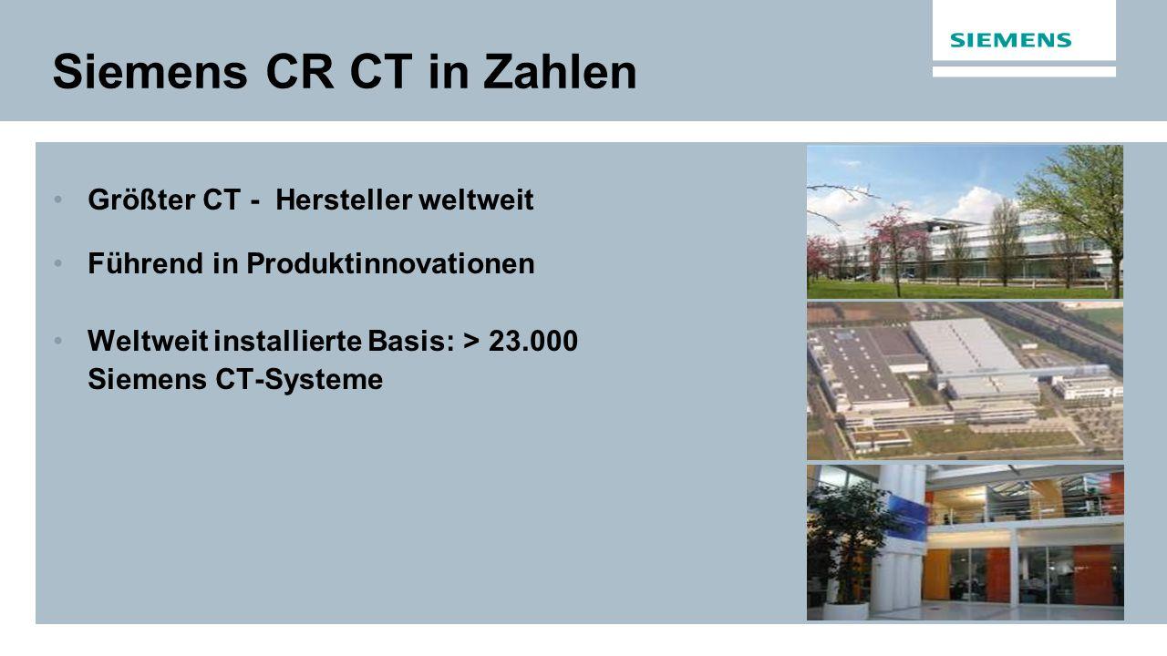 Siemens CR CT in Zahlen Größter CT - Hersteller weltweit