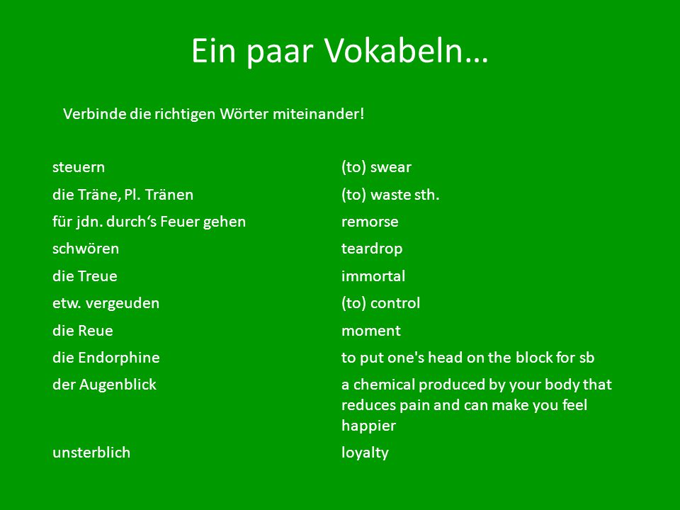 Ein paar Vokabeln… Verbinde die richtigen Wörter miteinander! steuern