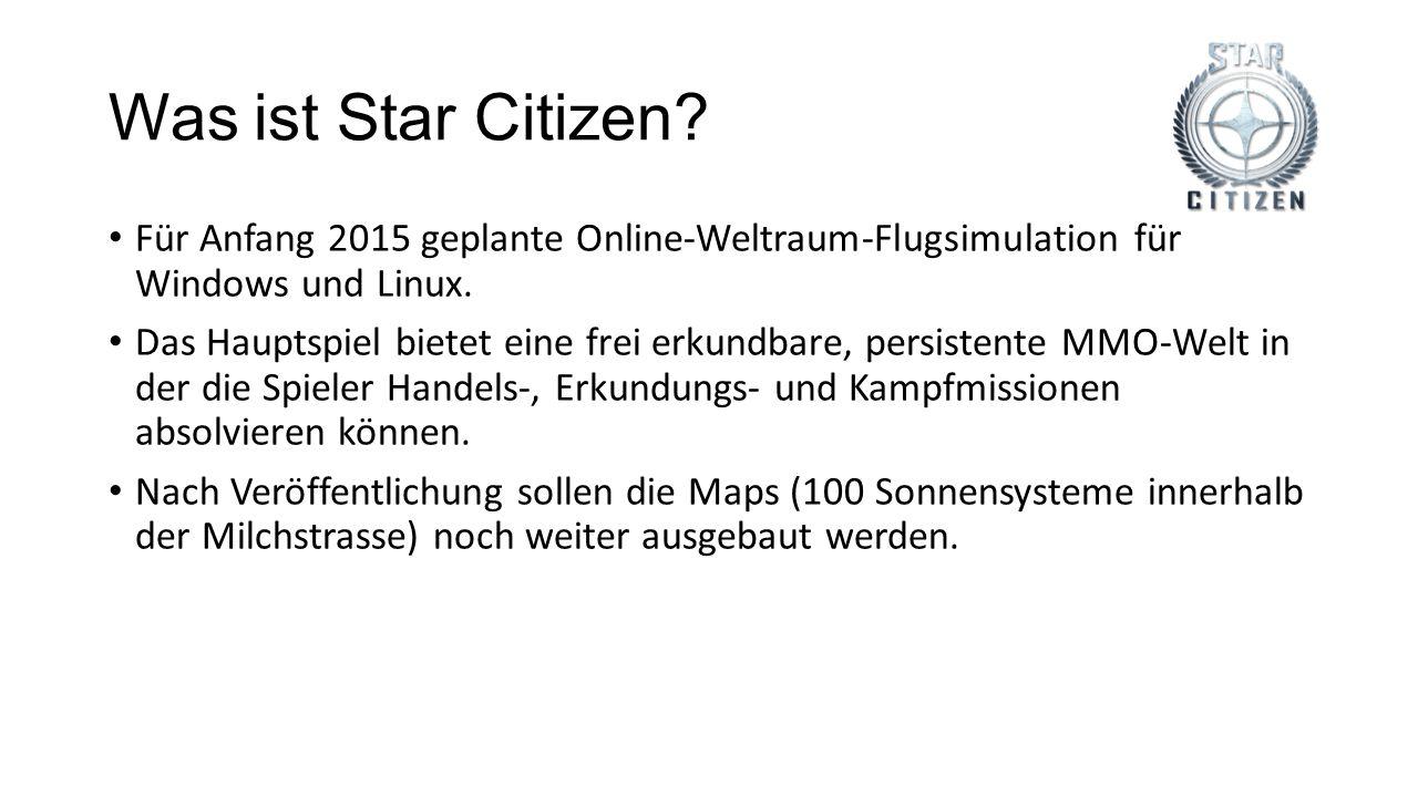 Was ist Star Citizen Für Anfang 2015 geplante Online-Weltraum-Flugsimulation für Windows und Linux.