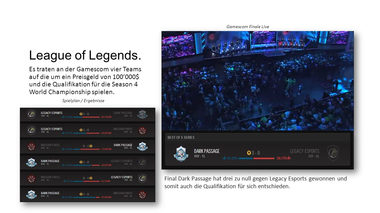 League of Legends. Gamescom Finale Live.
