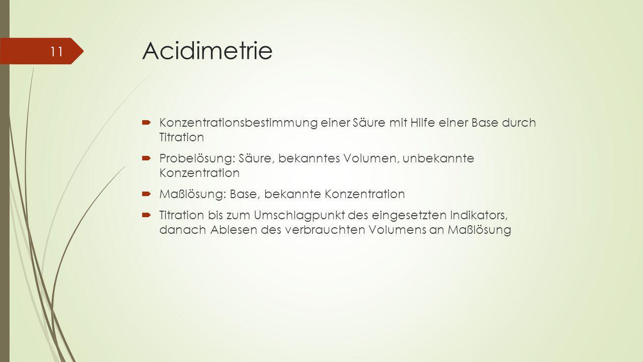 Acidimetrie Konzentrationsbestimmung einer Säure mit Hilfe einer Base durch Titration.