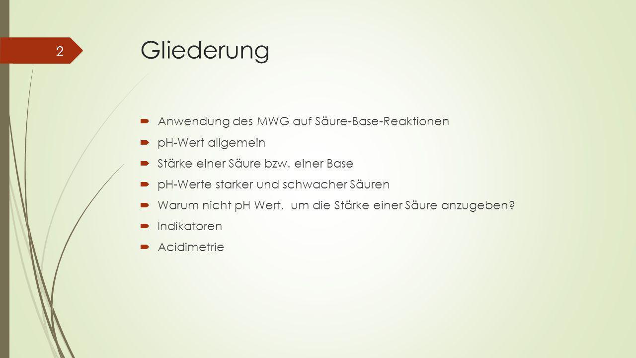 Gliederung Anwendung des MWG auf Säure-Base-Reaktionen