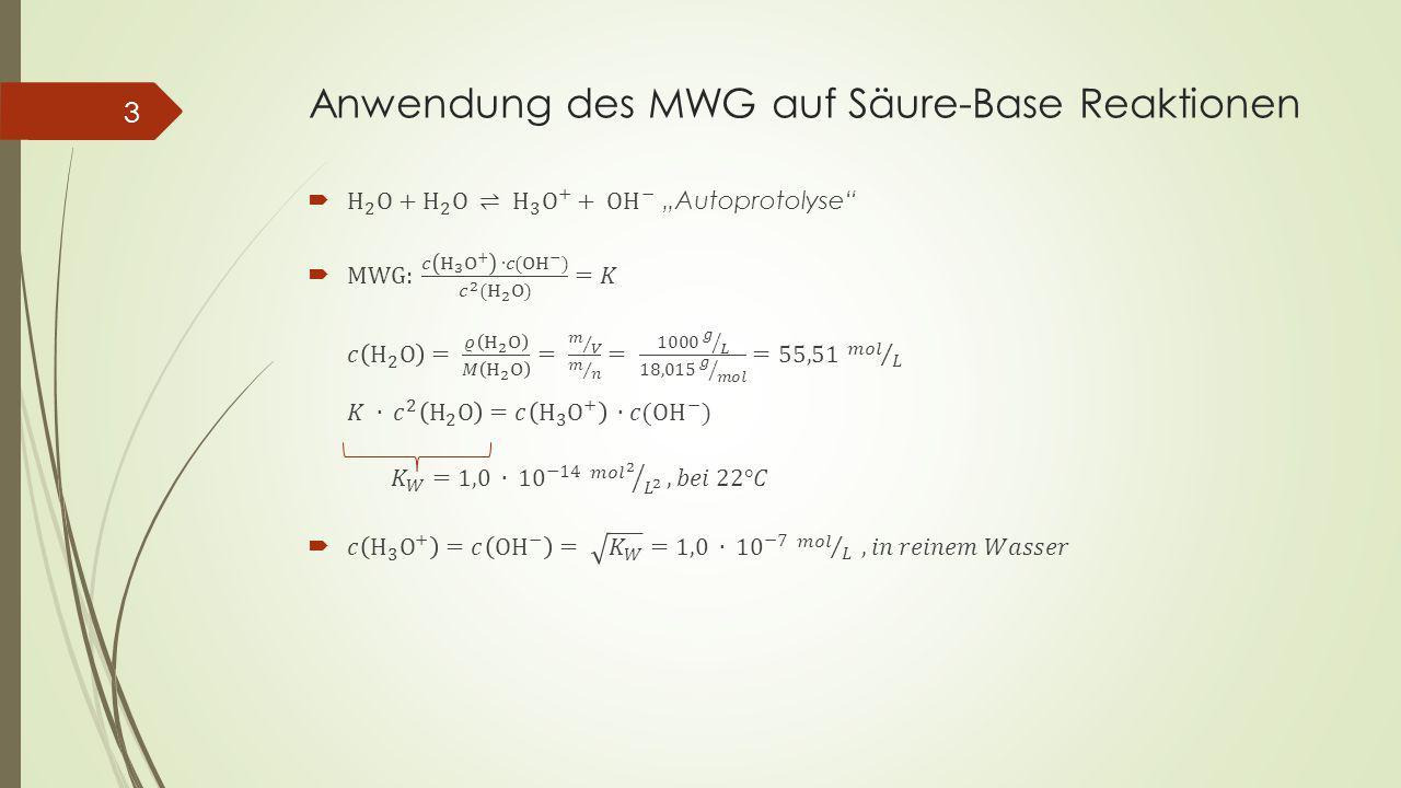 Anwendung des MWG auf Säure-Base Reaktionen