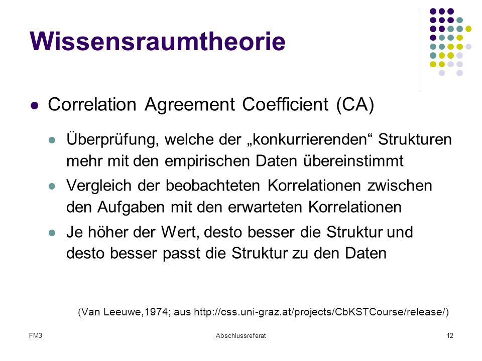 Wissensraumtheorie Correlation Agreement Coefficient (CA)
