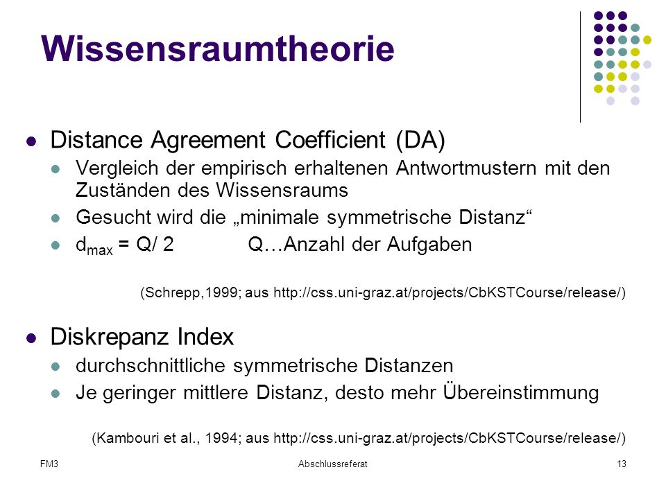 Wissensraumtheorie Distance Agreement Coefficient (DA)