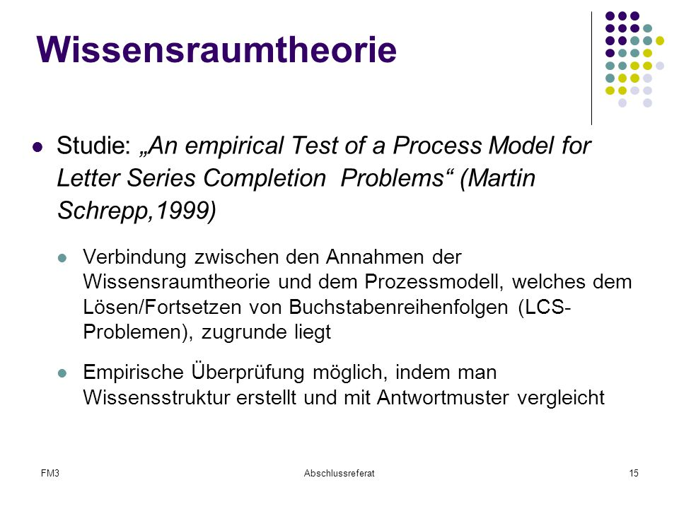 "Wissensraumtheorie Studie: ""An empirical Test of a Process Model for Letter Series Completion Problems (Martin Schrepp,1999)"