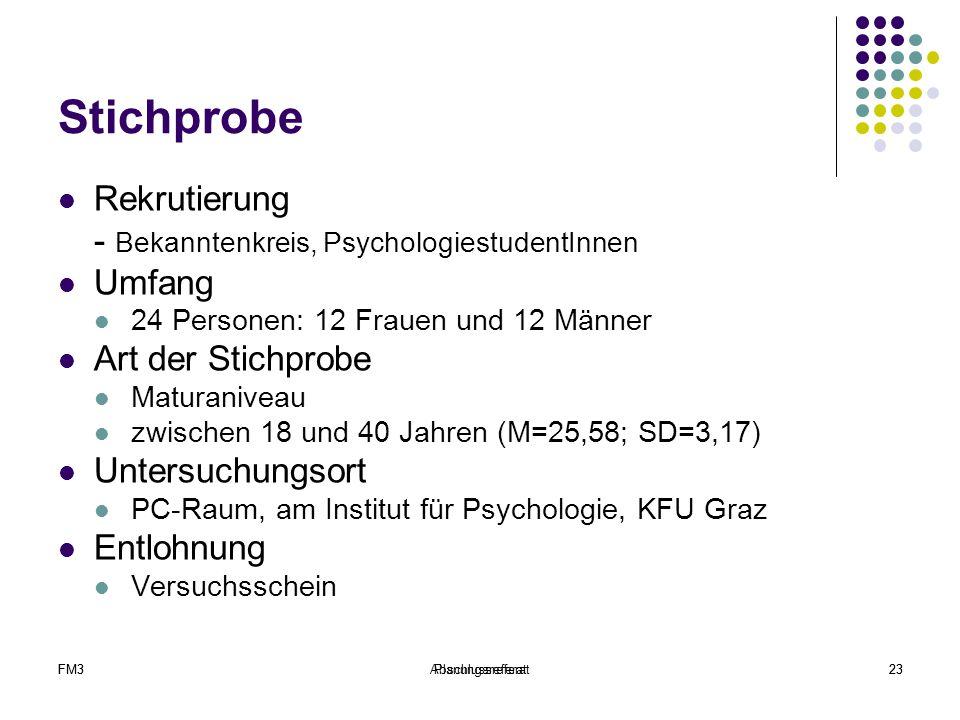 Stichprobe Rekrutierung - Bekanntenkreis, PsychologiestudentInnen