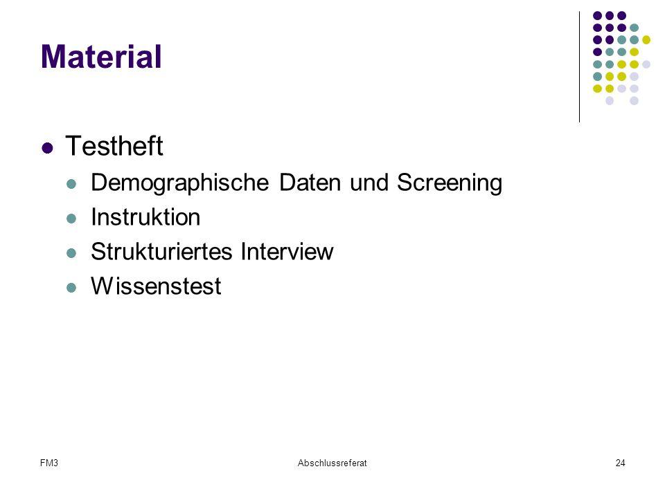 Material Testheft Demographische Daten und Screening Instruktion