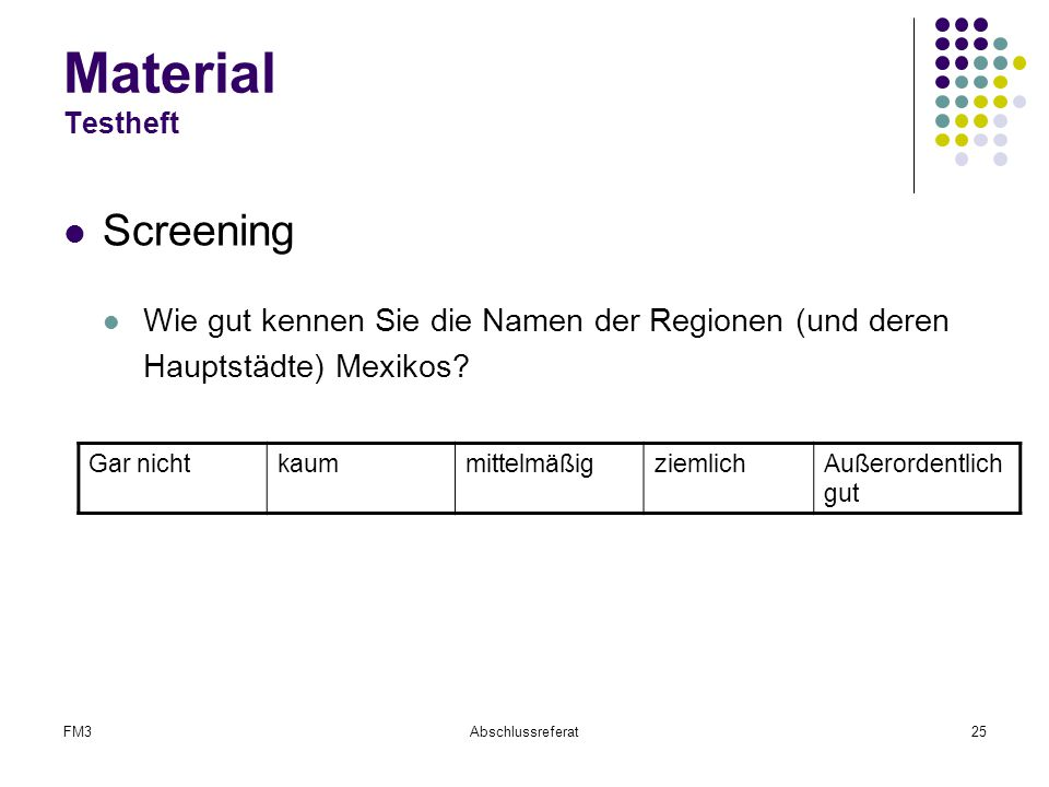 Material Testheft Screening