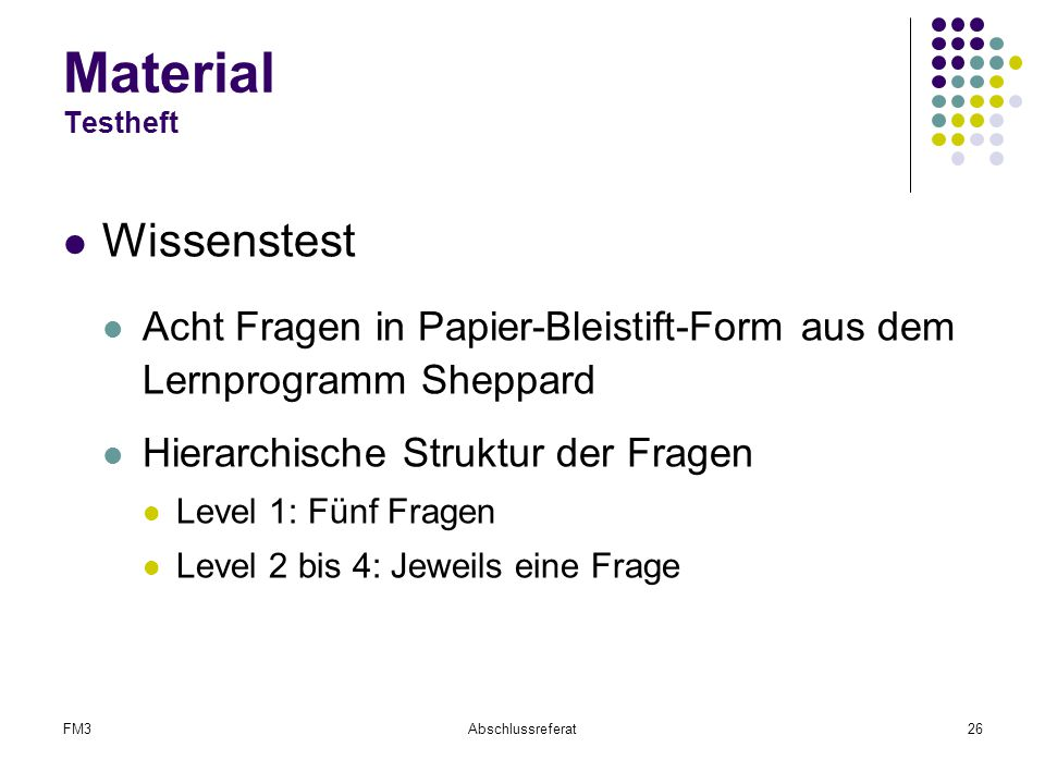 Material Testheft Wissenstest