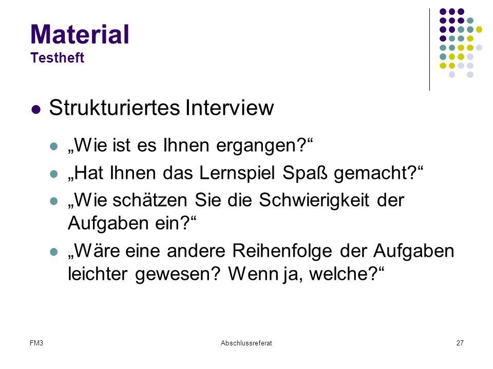 Material Testheft Strukturiertes Interview