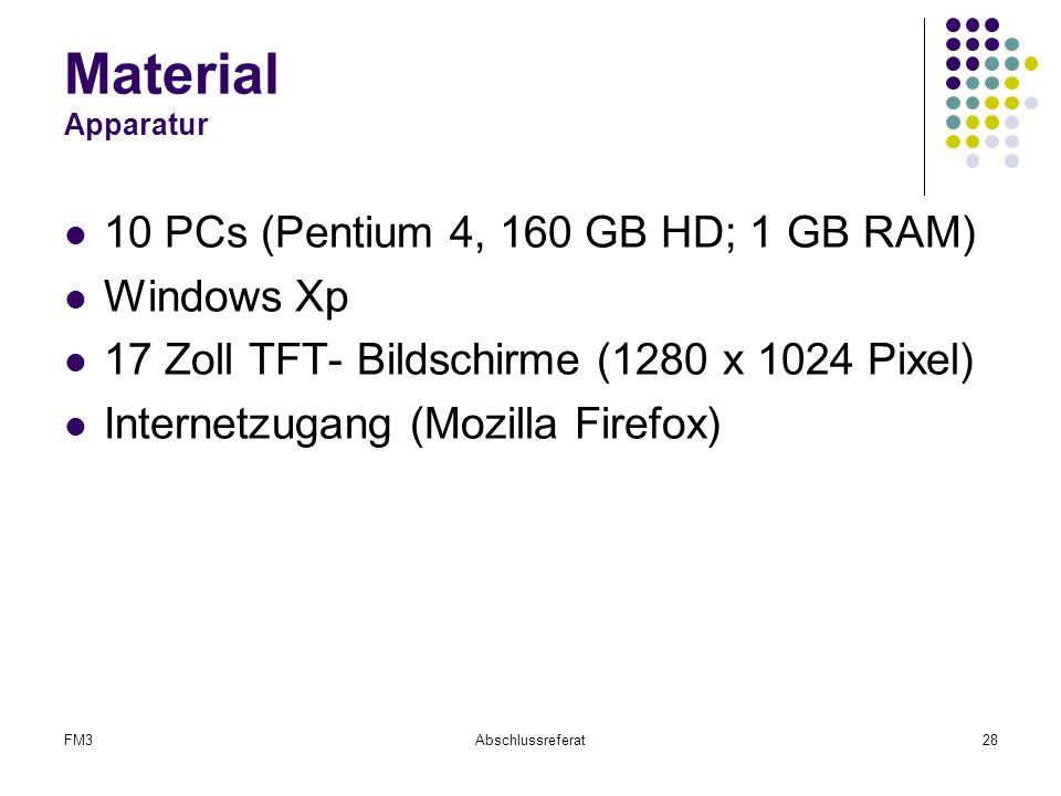 Material Apparatur 10 PCs (Pentium 4, 160 GB HD; 1 GB RAM) Windows Xp