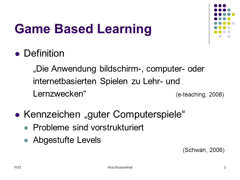 "Game Based Learning Definition Kennzeichen ""guter Computerspiele"
